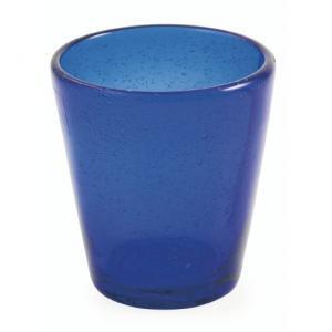 Стакан из синего прозрачного стекла с эффектом воздушных пузырьков