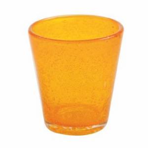 Стакан из яркого оранжевого стекла с эффектом воздушных пузырьков