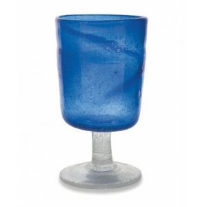 Бокал для вина из синего прозрачного стекла с воздушными пузырьками