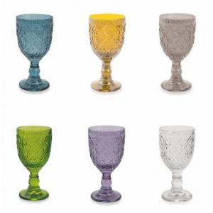 Набор винных бокалов из цветного стекла с фактурным рисунком, 6 шт.