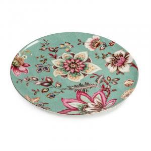 Тортовница плоская бирюзовая с розовыми цветами Fleurs