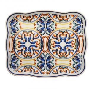 Маленькое прямоугольное блюдо с синим узором Medicea