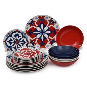 Столовый сервиз с красно-синими орнаментами Santiago