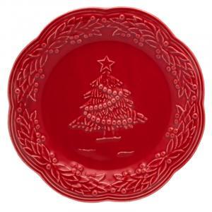 """Тарелка десертная красная с рельефным рисунком """"Рождество"""""""