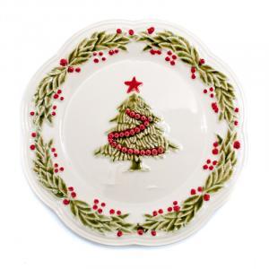 """Тарелка десертная белая с рельефным узором """"Рождество"""""""