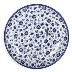 Тарелка десертная с узором из синих цветов