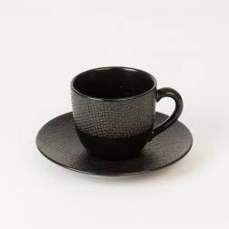 Черные чашки с блюдцем для кофе, набор 6 шт