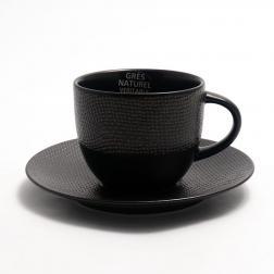 Набор чайных чашек с блюдцем Vesuvio черного цвета, 6 шт