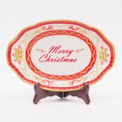 Блюдо овальное новогоднее с надписью Merry Christmas