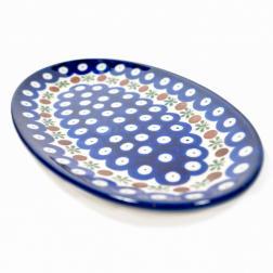 Блюдо овальное c синим орнаментом