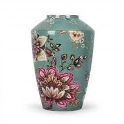 Бирюзовая ваза с изящным цветочным узором Fleurs