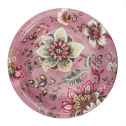 Салатник розовый из фарфора с растительным узором Fleurs
