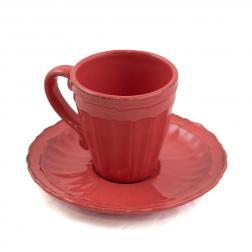 Изящная кофейная чашка с блюдцем кораллового цвета Dalia
