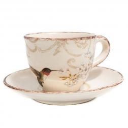 Чашка чайная и блюдце из керамики ручной работы