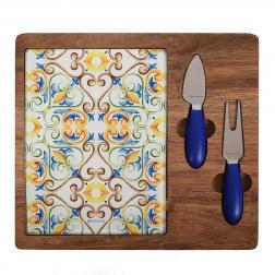 Доска с ножом и вилкой для нарезки и подачи сыра Medicea