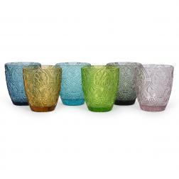 Разноцветные стеклянные стаканы, набор 6 шт. Corinto