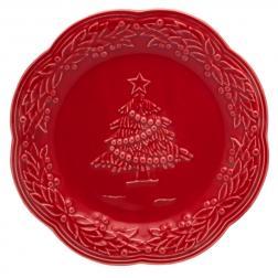 Тарелка десертная красная с рельефным рисунком