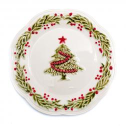 Тарелка десертная белая с рельефным узором