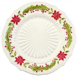 Тарелка подставная белая с новогодним рисунком