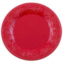Тарелка подставная с выпуклыми цветами пуансеттии
