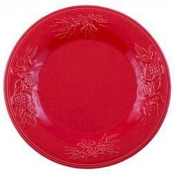 Тарелка обеденная красная с узором