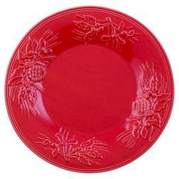 Тарелка десертная красная с новогодним рисунком