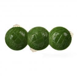 Менажница зеленая на 3 секции
