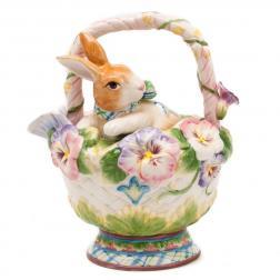 Заварник Кролик в корзинке с цветами