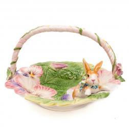 Фруктовница в виде корзинки с кроликом