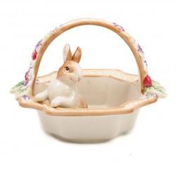 Фруктовница керамическая корзинка с кроликом