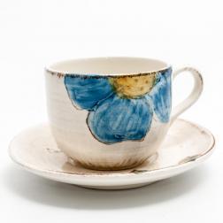 Чашка чайная с блюдцем из керамики ручной работы Portofino