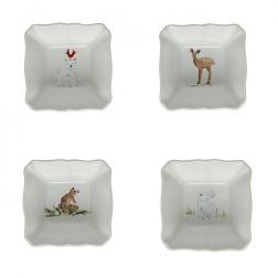Набор порционных горшочков белый Deer Friends Casafina