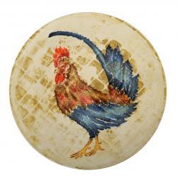 Небольшое круглое блюдо из бежевой керамики