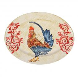 Блюдо овальное с изображением петуха