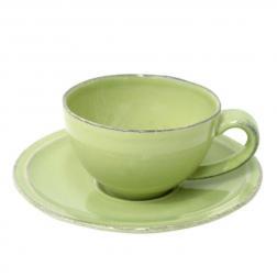 Чашка с блюдцем зелёная для кофе Friso