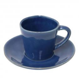 Синие чашки с блюдцем для кофе, набор 6 шт. Nova