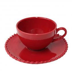 Чашки с блюдцами для чая, набор 6 шт. Pearl rubi