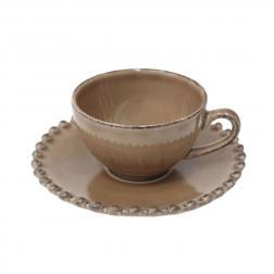Чашки с блюдцами для кофе, набор 6 шт. Pearl cocoa