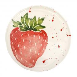 Тарелка десертная с рисунком клубники