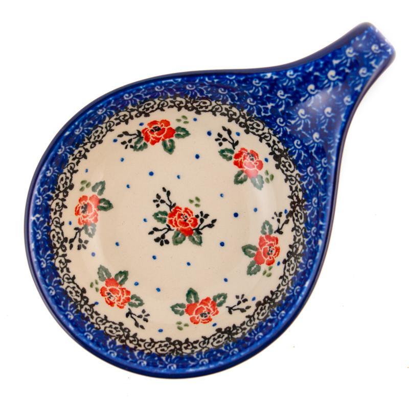"""Подставка под ложку с цветочным узором и синей каймой """"Чайная роза""""  - фото"""