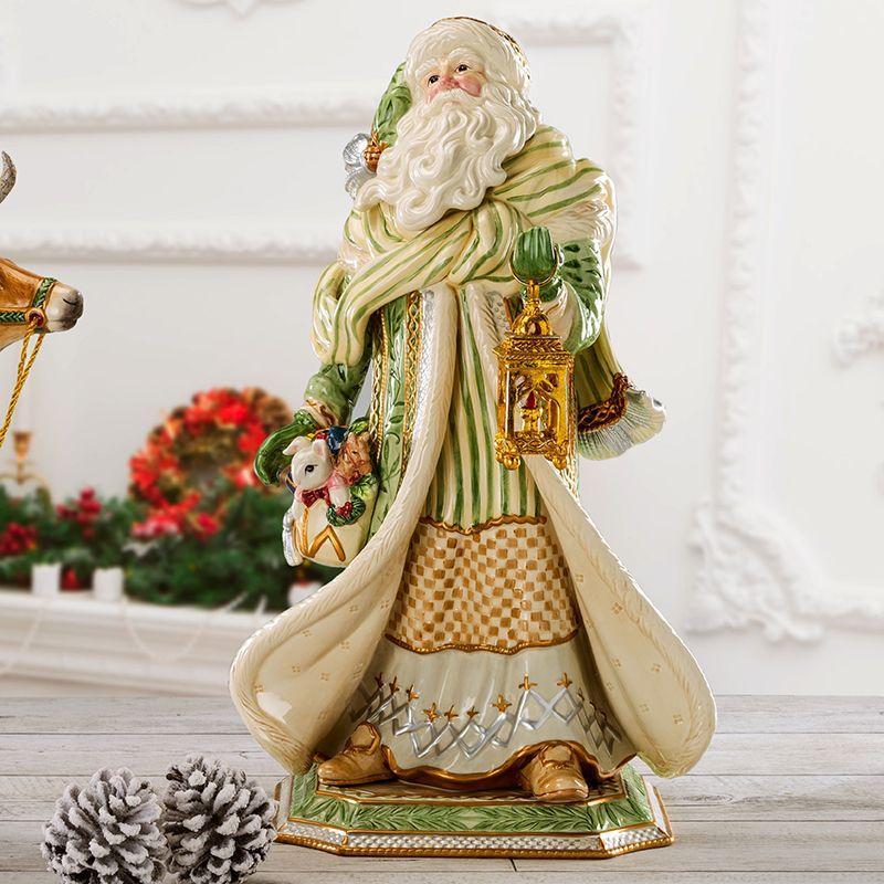 Большая керамическая статуэтка Деда Мороза в зеленом кафтане  - фото