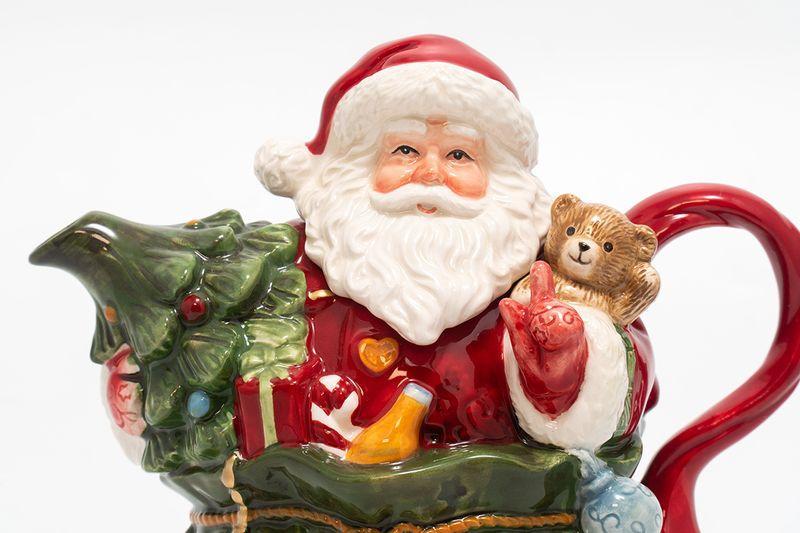 Новогодний керамический заварник-статуэтка «Санта с подарками»  - фото
