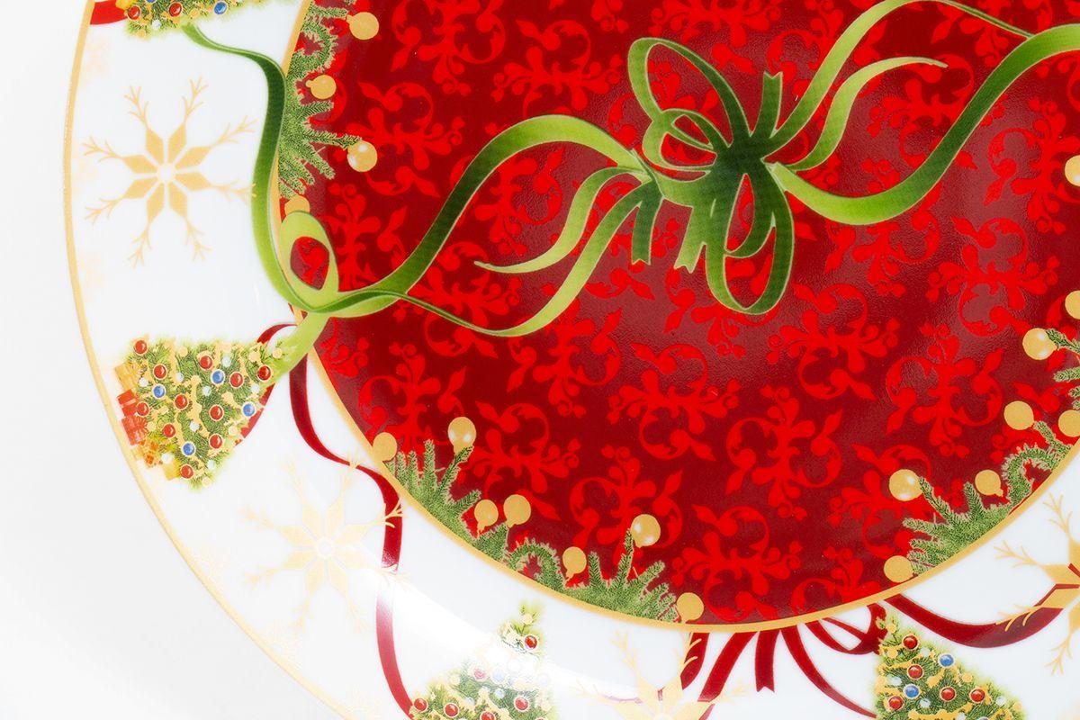 """Керамическое блюдо для новогодней сервировки """"Яркие завитки""""  - фото"""