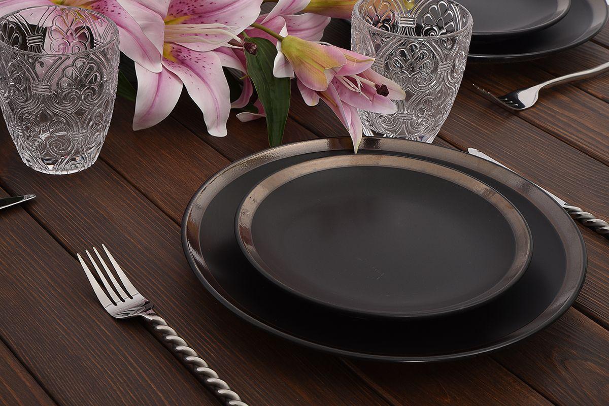 Керамический столовый сервиз на 6 персон черного цвета с золотистой каймой Naima  - фото