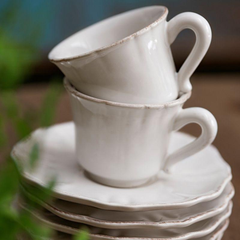 Чашки чайные с блюдцем, набор 6 шт Impressions  - фото