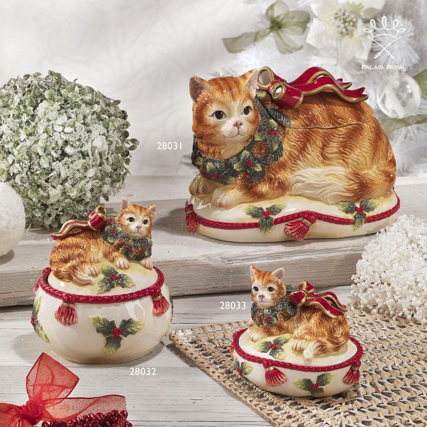 """Новогодняя керамическая шкатулка """"Нарядный котенок""""  - фото"""