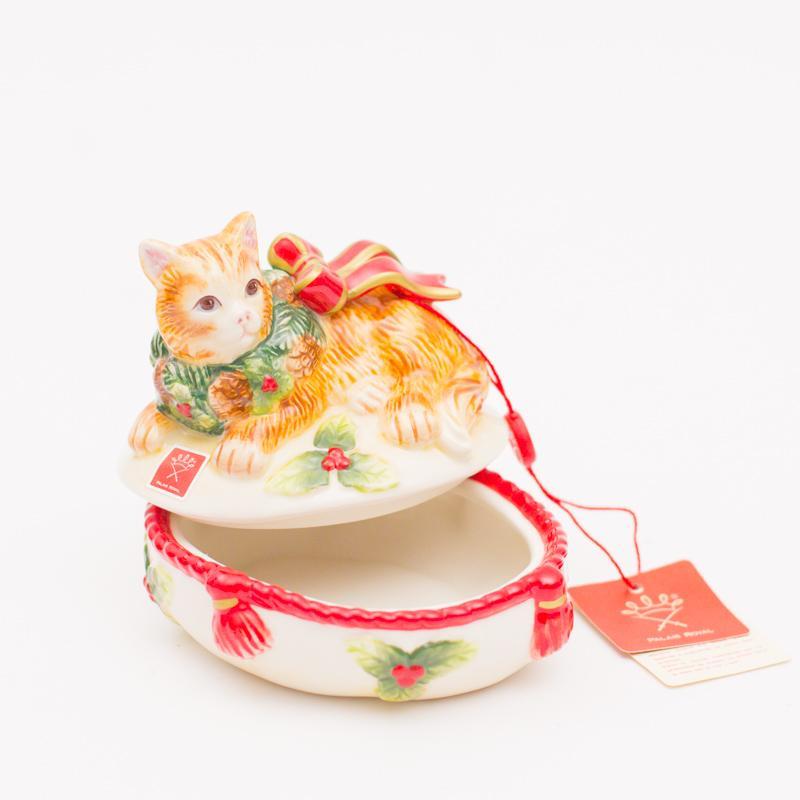 """Новогодняя шкатулка """"Нарядный котенок""""  - фото"""