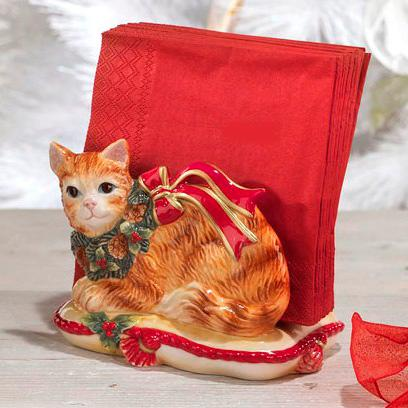 """Новогодняя салфетница """"Нарядный котенок""""  - фото"""