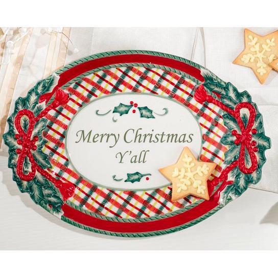 """Блюдо овальное """"Merry Christmas Y'all""""  - фото"""
