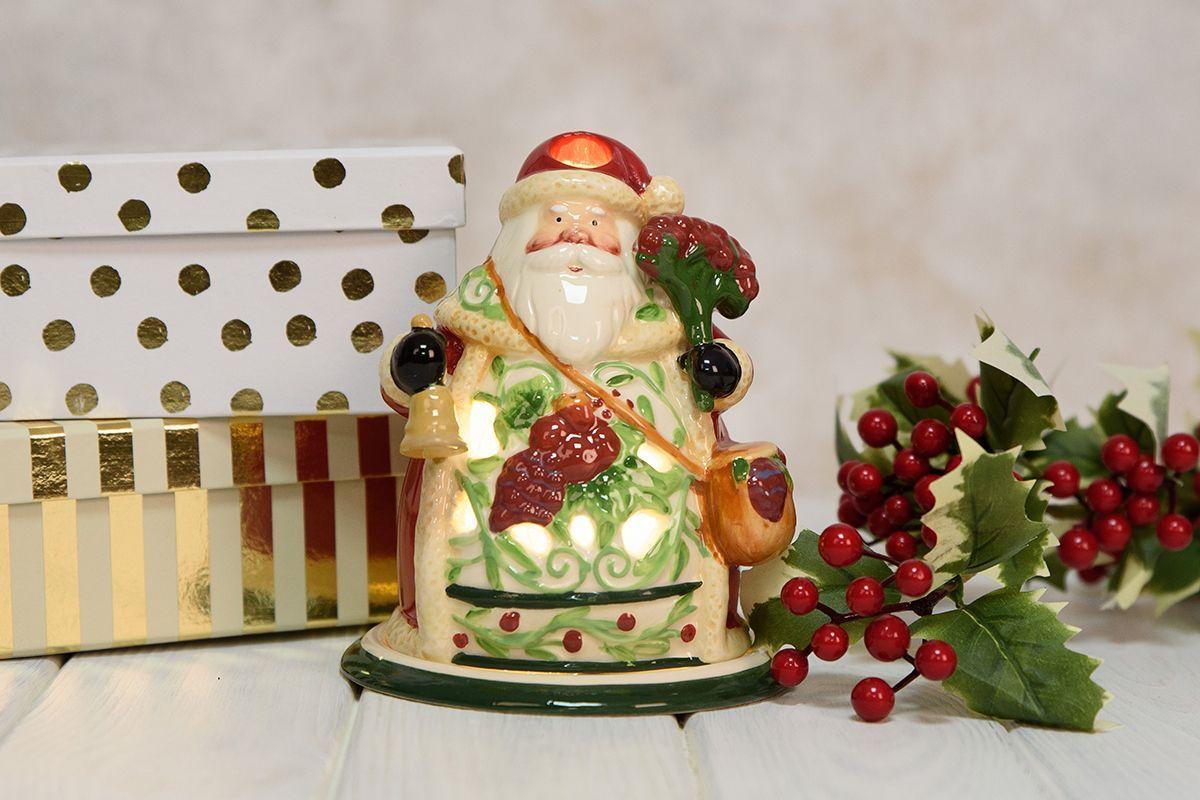 Новогодний керамический подсвечник в виде Деда Мороза  - фото